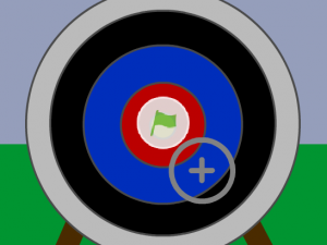 An archery target overlaid with a crosshair