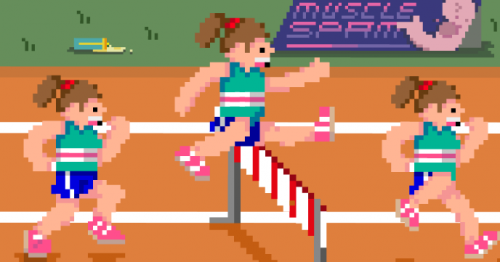 Pixellated athletes approach, leap and clear a hurdle on an athletics track