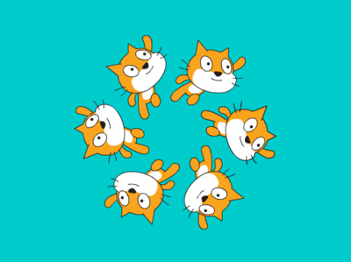 Six copies of the Scratch cat against an aqua blue background form a hexagonal synchronised swimming formation
