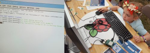 "Montage: a photo of a young girl with a flower garland in her hair, lost in concentration at a Raspberry Pi workstation; and a photo of the screen showing some of the code she is working on. She is making the Sense HAT display messages including, ""I like doing sports"" and ""I like having hugs with Mummy."""