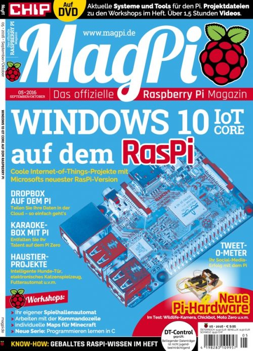 "The cover of the first issue of the German version of the MagPi magazine, ""das offizielle Raspberry Pi Magazin"""