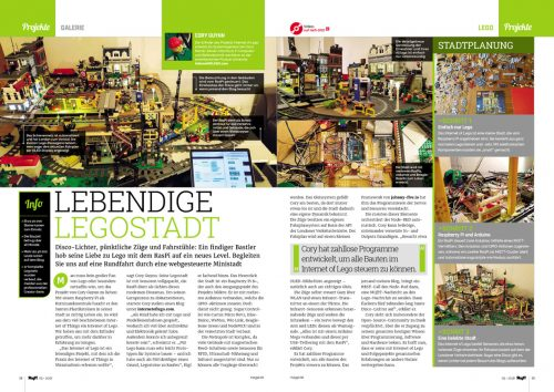 "A two-page spread from the magazine featuring photographs and text: ""LEBENDIGE LEGOSTADT"""
