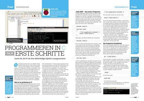"A two-page spread from the magazine, featuring text and code snippets: ""PROGRAMMIEREN IN C: ERSTE SCHRITTE"""