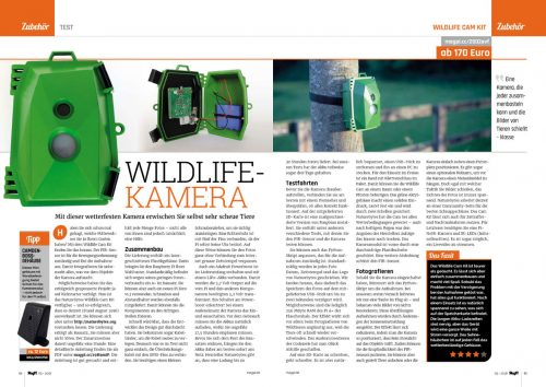 "A two-page spread from the magazine, featuring photos and text: ""WILDLIFE-KAMERA"""