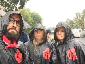 The team tried hard not to let the rain dampen their ardour for STEM...