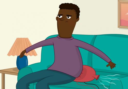 A cartoon of a man sitting on a whoopee cushion - Raspberry Pi WhooPi Cushion Resource