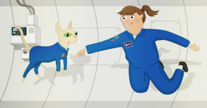 Simulate the effects of weightlessness in space using Scratch