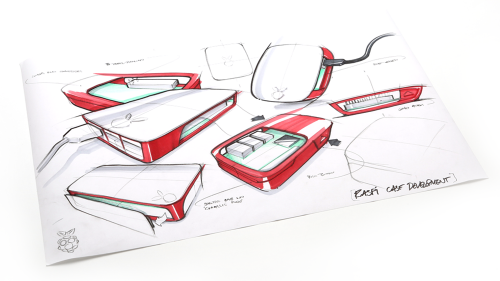 Raspberry Pi case design sketches