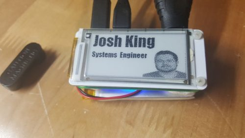 Josh King e-ink name badge Raspberry Pi