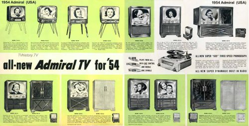 1954 brochure advert for Admiral TV sets