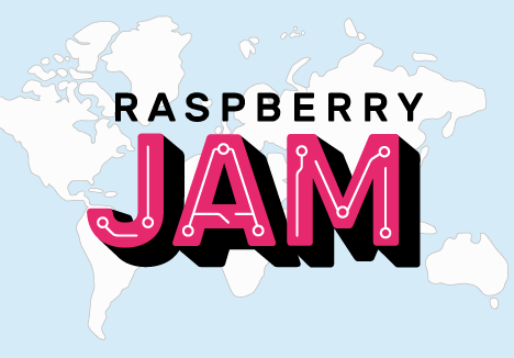 Raspberry Jam logo over world map