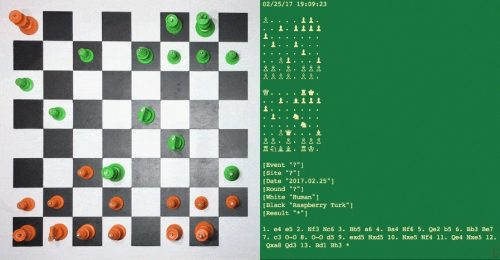 Image of Raspberry Turk chessboard with Python script alongside