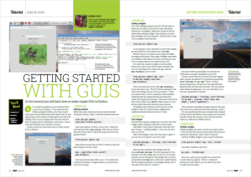 A page from The MagPi 58 showing information on 'Getting Started with GUIs'