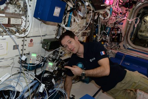 Thomas Pesquet aboard the ISS with the Astro Pi units