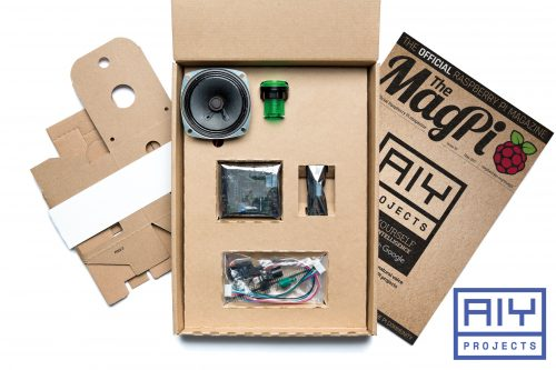 Issue 57 of The MagPi, showing the Google AIY Voice Projects Kit