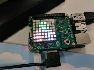 Julia language logo on the Sense HAT LED array