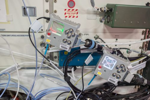 Astro Pi units on the ISS photographed by Thomas Pesquet