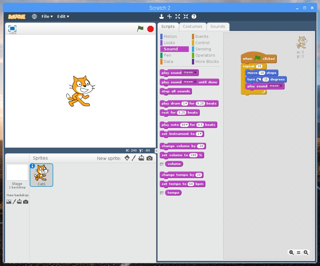 Screenshot of Scratch on Raspbian