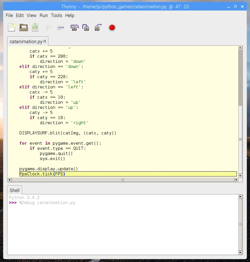 Screenshot of Thonny IDE in Raspbian