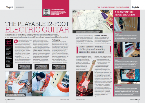 A spread from The MagPi 60 showing a giant Raspberry Pi-powered guitar