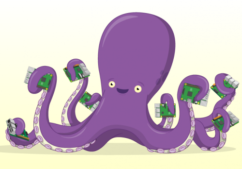 A happy cartoon octopus holds a Raspberry Pi in each tentacle.