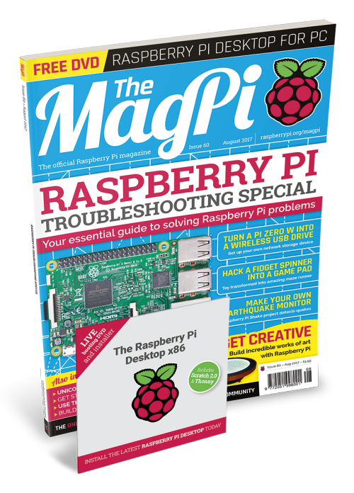 The MagPi 60 cover with DVD slip case shown