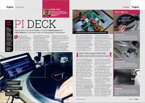 A spread of The MagPi magazine showing a DJ deck tutorial - MagPi 61
