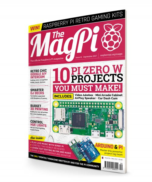 Cover of The MagPi magazine with a picture of the Pi Zero W - MagPi 61