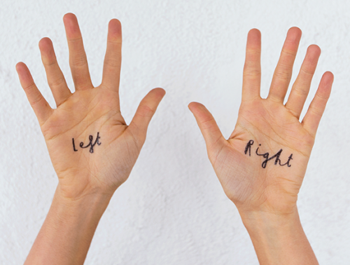 A photo of hands with left and right written on them - English Pronunciation Training