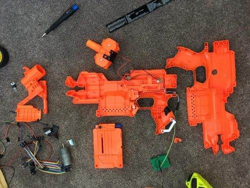 Nerf Elite Stryfe components for the FRED-209 Nerf tank of David Pride