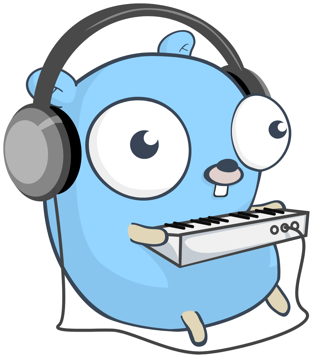 The Go language gopher mascot with headphones and a MIDI keyboard