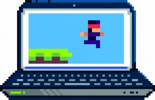 Pixel image of laptop displaying a jump-and-run game