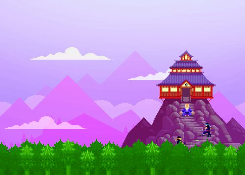 Pixel image of a landscape with an East Asian temple on a lonely mountain