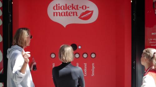 Dialekt-o-maten on the highstreet in Stockholm