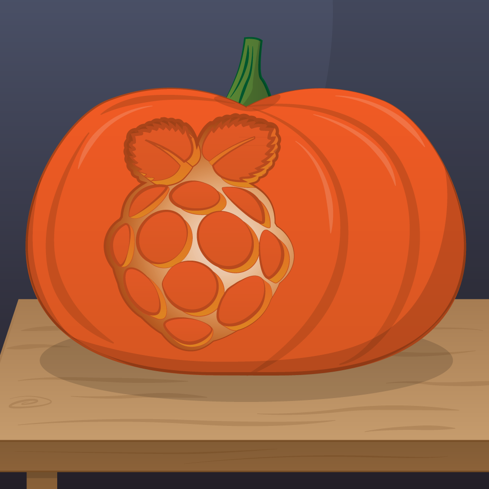 drawing of a pumpkin with the raspberry pi logo carved into it