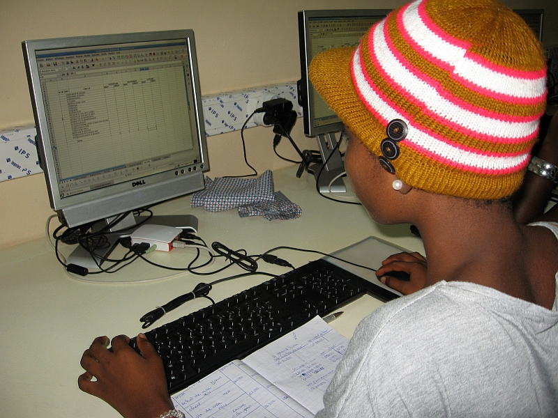 Student using a Raspberry Pi computer