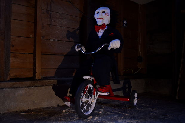 The Saw franchise's Billy the puppet on a tricycle - Raspberry Pi Halloween projects