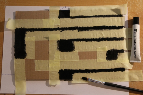 The control surface of the robot, painted with bare conductive paint