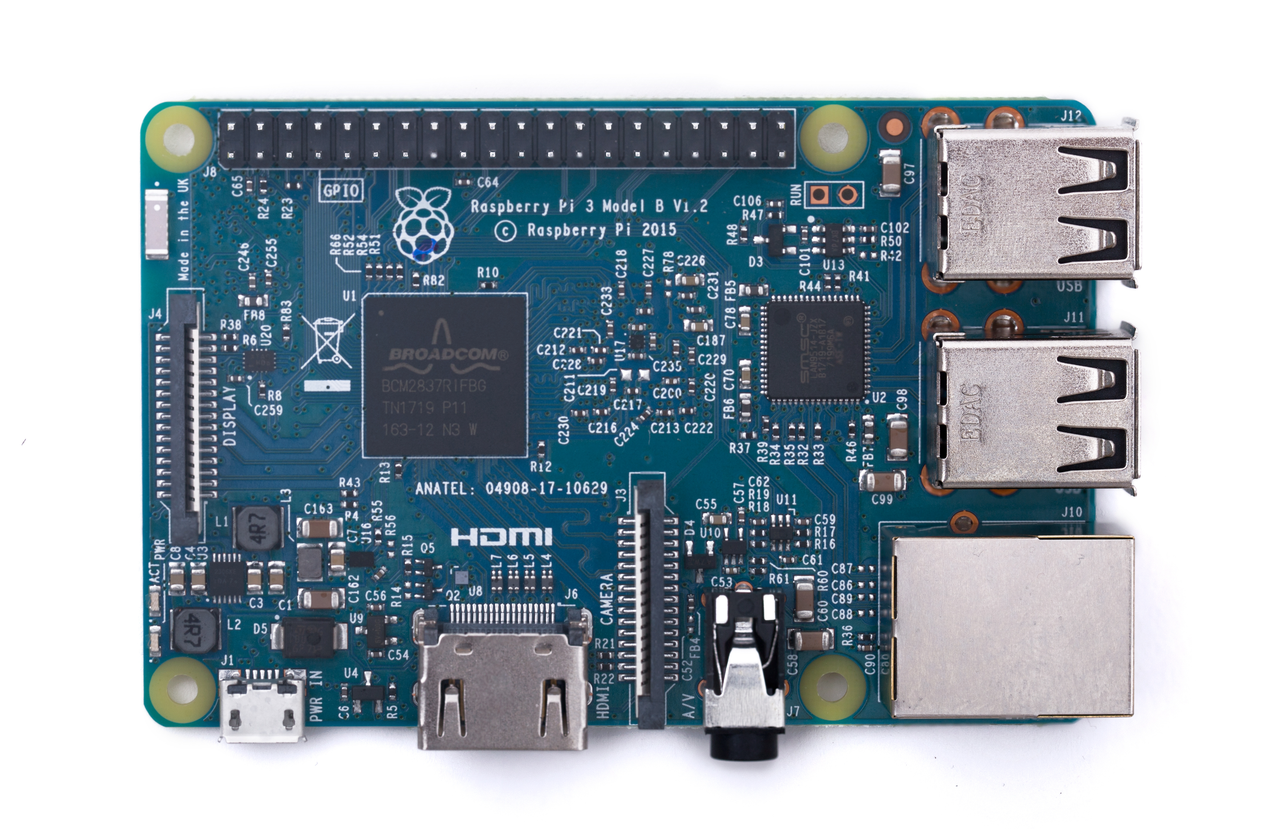 A photo of the blue-variant Raspberry Pi 3