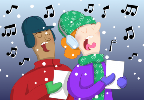 A cartoon of people singing Christmas carols - Raspberry Pi Christmas Resources