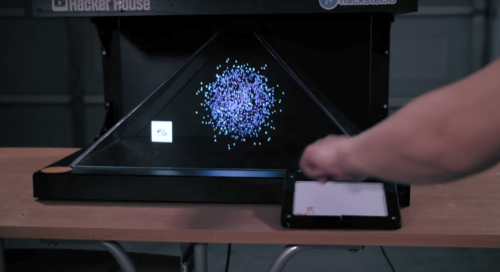 Hacker House's gesture-controlled holographic visualiser