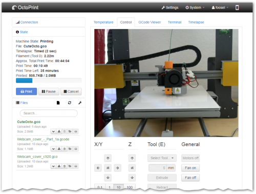 OctoPrint software graphic user interface screenshot