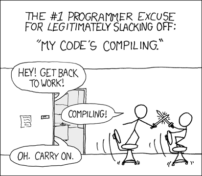 XKCD comic of two people sword-fighting on office chairs while their code is compiling