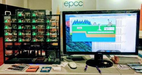 Raspberry Pi 3 cluster demo at a conference stall