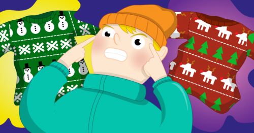 A cartoon of someone remembering pairs of jumper designs - Raspberry Pi Christmas Resources