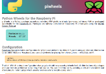 A screenshot of the piwheels documentation home page