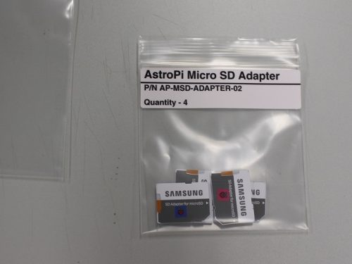 Micro SD cards in bag — Astro Pi upgrades