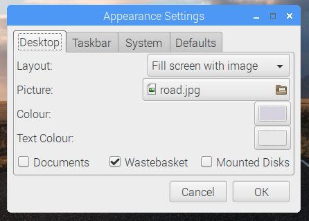 Screenshot of appearance settings application in Raspbian