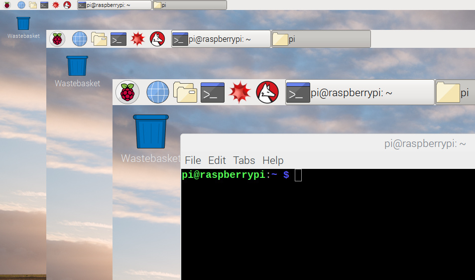 Overlay of screenshots of Raspbian desktop at various sizes