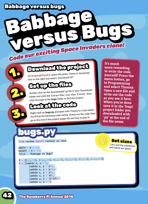 babbage versus bugs Raspberry Pi annual